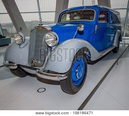 STUTTGART GERMANY- MARCH 19 2016: Panel van Mercedes-Benz 170V (W136) 1952. Mercedes-Benz Museum.