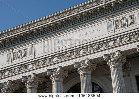 Facade of New York State Education Building in Albany New York