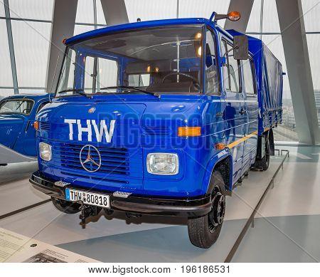 STUTTGART GERMANY- MARCH 19 2016: Mercedes-Benz L409 Double Cab Pickup 1979. Mercedes-Benz Museum.