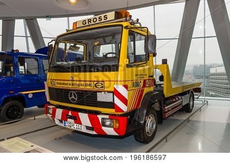 STUTTGART GERMANY- MARCH 19 2016: Recovery truck Mercedes-Benz 814 1992. Mercedes-Benz Museum.