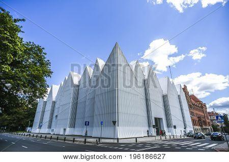 Szczecin Poland July 17 2017: Facade of Philharmonic Hall in Szczecin the most modern building in Szczecin
