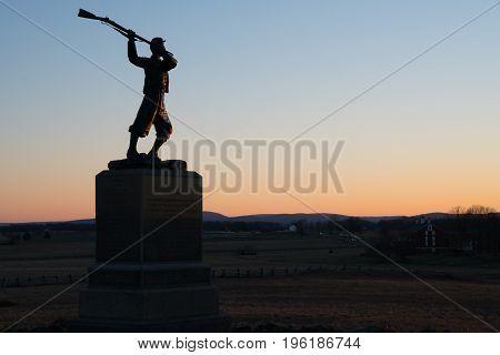 Silhouette at Sunset on Gettysburg National Battlefield