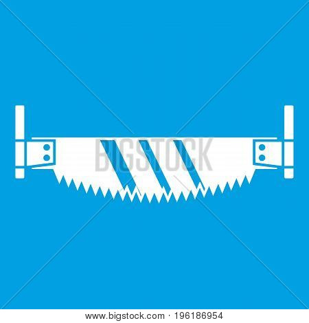 Two handled saw icon white isolated on blue background vector illustration