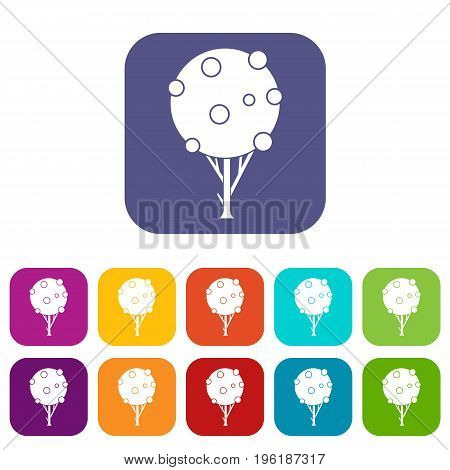 Tree with fruits icons set vector illustration in flat style in colors red, blue, green, and other