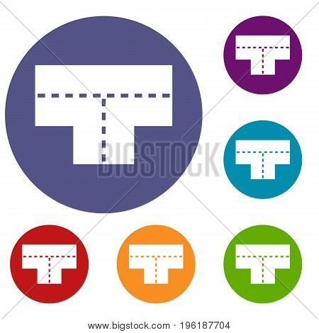 Tshaped crossroad icons set in flat circle red, blue and green color for web