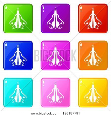 Military fighter plane icons of 9 color set isolated vector illustration
