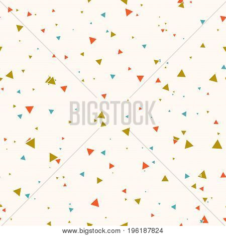 Abstract seamless pattern with colorful blue gold orange chaotic small triangles on beige background. Infinity geometric card. Vector illustration.