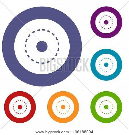 Circle road icons set in flat circle red, blue and green color for web
