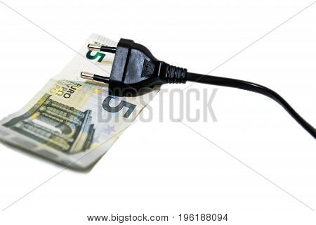 Expensive electricity electric plug on five euro bill on white background
