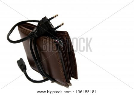 Conceptual image of expensive electricity costs on white background