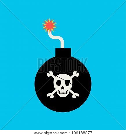 Bomb icon sign. Pirate grenade in flat style. Vector stock.