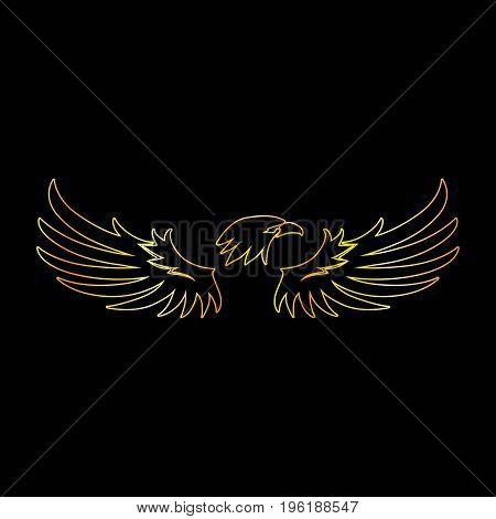 Golden Line Eagle with Black Background Vector Illustration