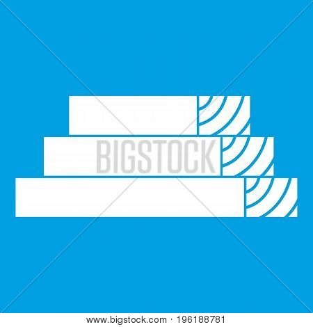 Wooden planks icon white isolated on blue background vector illustration