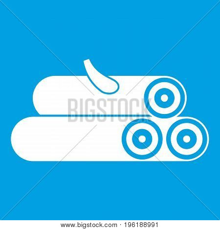 Wooden logs icon white isolated on blue background vector illustration