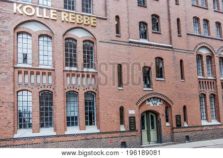 Hamburg , Germany - July 14, 2017: Kolle Rebbe is priducing media content in the famous Speicherstadt of Hamburg, EUrope