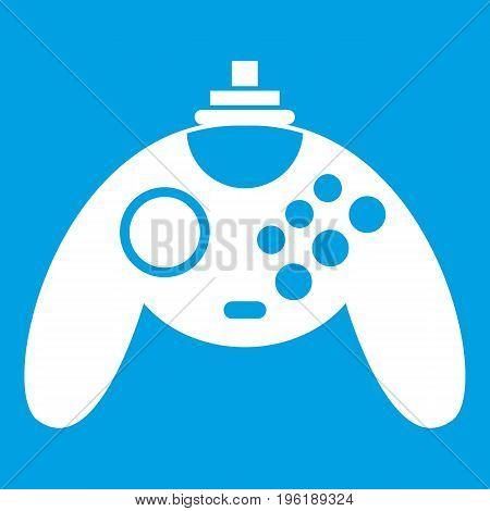 Gamepad icon white isolated on blue background vector illustration