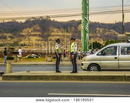 Traffic Police At Highway, Guayaquil, Ecuador