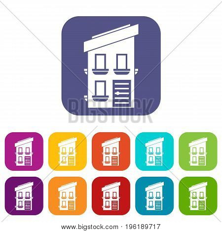 Two-storey house icons set vector illustration in flat style in colors red, blue, green, and other