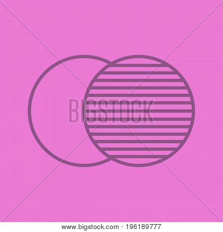 Overlapping symbol color linear icon. Convergence abstract metaphor. Thin line outline symbols on color background. Vector illustration