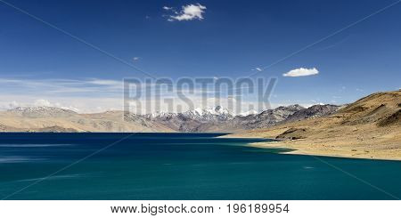 View of Tso Moriri Lake in the Karakorum Mountains near Leh India. This lake is a frequent destination for tourists.