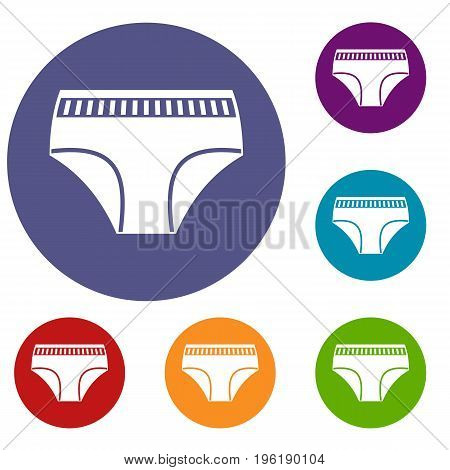Woman cotton panties icons set in flat circle red, blue and green color for web