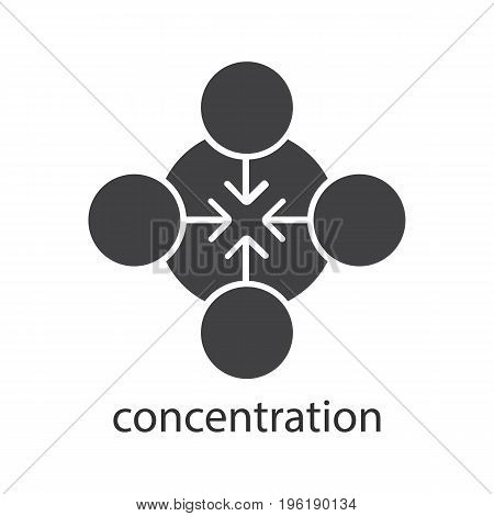 Concentration glyph icon. Silhouette symbol. Teamwork abstract metaphor. Negative space. Vector isolated illustration