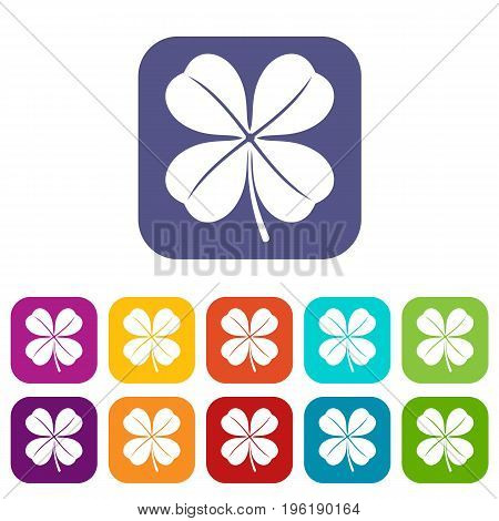 Clover leaf icons set vector illustration in flat style in colors red, blue, green, and other
