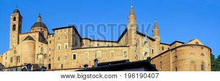 Panoramic view of Ducale Palace in Urbino city Marche Italy