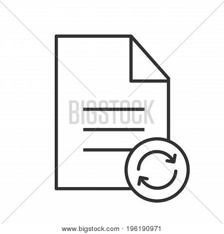 Refresh file linear icon. Thin line illustration. Document with cycling arrows contour symbol. Vector isolated outline drawing