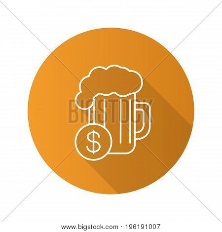 Buy beer flat linear long shadow icon. Beer glass with dollar sign. Vector outline symbol