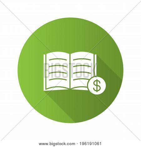 Buy book flat design long shadow glyph icon. Bookstore. Textbook with dollar sign. Vector silhouette illustration