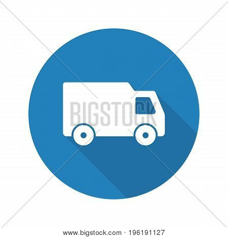 Delivery van flat design long shadow glyph icon. Transportation truck. Vector silhouette illustration
