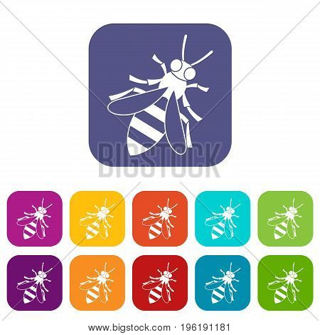 Honey bee icons set vector illustration in flat style in colors red, blue, green, and other