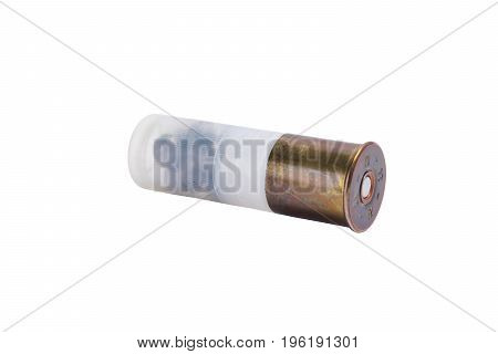 White bullet for a pump gun on a white background