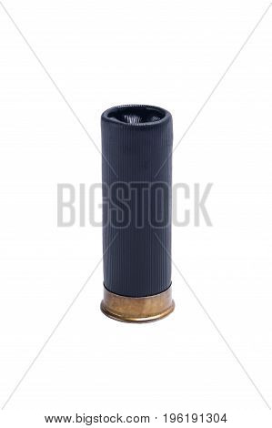 Black bullet for shotgun with large shot on white background
