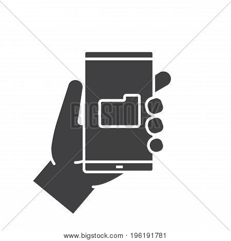 Hand holding smartphone glyph icon. Silhouette symbol. Smart phone file manager. Negative space. Vector isolated illustration