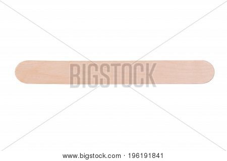 Wooden stick for waxing hair on white background