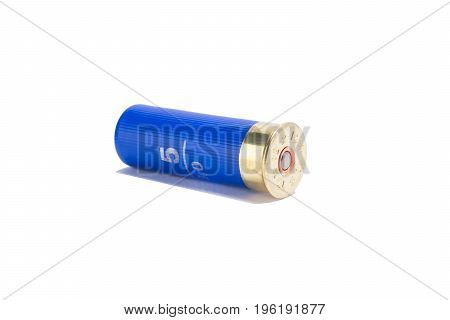 Blue bullets for a pump gun on a white background