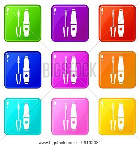 Mascara, mascara brush icons of 9 color set isolated vector illustration