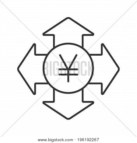 Money spending linear icon. Expanses. Thin line illustration. Japanese yen with all direction arrows contour symbol. Vector isolated outline drawing