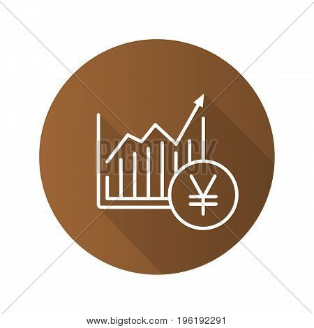 Market growth chart flat linear long shadow icon. Statistics diagram with yen sign. Vector outline symbol