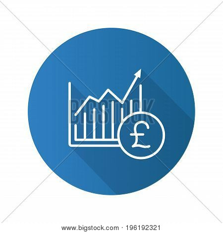 Market growth chart flat linear long shadow icon. Statistics diagram with pound sign. Vector outline symbol