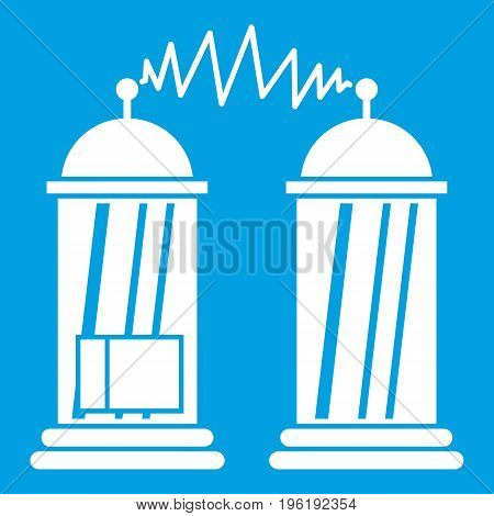 Electrical impulses icon white isolated on blue background vector illustration