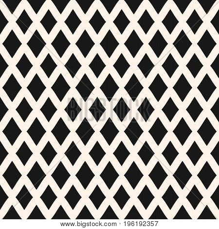 Diamonds seamless pattern. Vector rhombuses geometric texture. Simple abstract monochrome geometrical background. Repeat tiles. Square design element for prints, fabric, cloth, textile, decor, bedding. Rhombuses pattern.