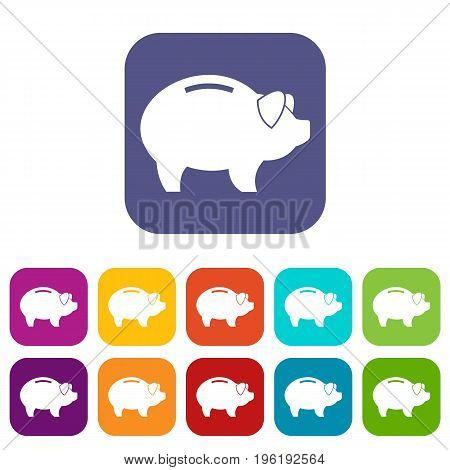 Piggy icons set vector illustration in flat style in colors red, blue, green, and other