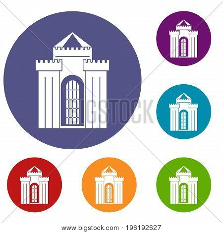 Medieval palace icons set in flat circle red, blue and green color for web