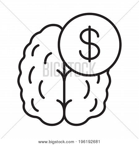 Business mind. Knowledge equal money linear icon. Thin line illustration. Human brain with dollar sign contour symbol. Vector isolated outline drawing