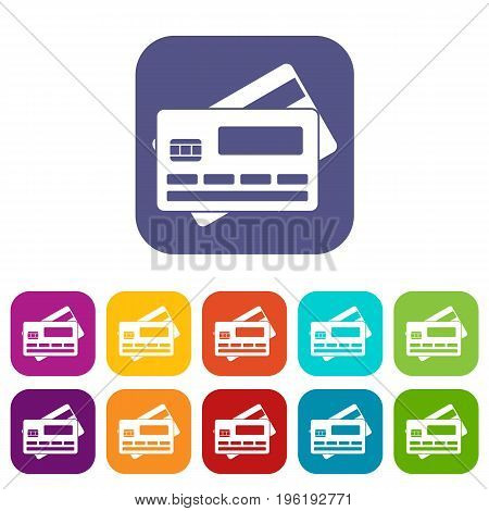 Credit card icons set vector illustration in flat style in colors red, blue, green, and other