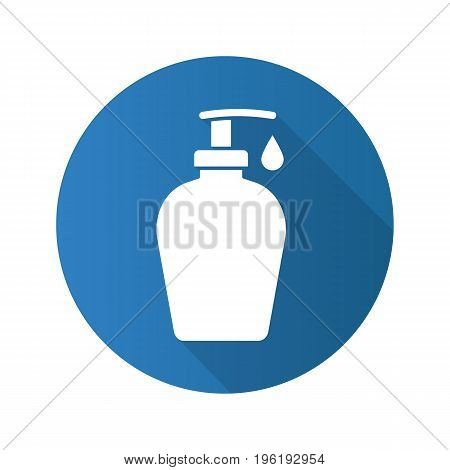 Liquid soap bottle with drop. Flat design long shadow icon. Shower gel. Vector silhouette symbol