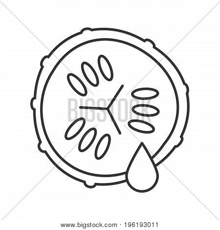 Cucumber slice with juice linear icon. Spa. Thin line illustration. Cucumber facial mask contour symbol. Vector isolated outline drawing
